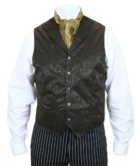 Steampunk Mens Brown Silk Floral Notch Collar Dress Vest | Gothic | Pirate | LARP | Cosplay | Retro | Vampire || Twin City Silk Vest - Chocolate