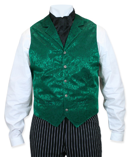 Steampunk Mens Green Silk Floral Notch Collar Dress Vest | Gothic | Pirate | LARP | Cosplay | Retro | Vampire || Twin City Silk Vest - Hunter Green