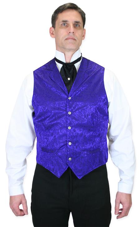 1800s Mens Purple Silk Floral Notch Collar Dress Vest | 19th Century | Historical | Period Clothing | Theatrical || Twin City Silk Vest - Purple