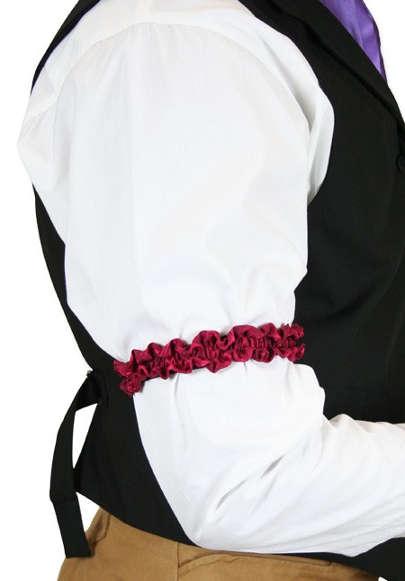 Victorian Mens Burgundy Silk Sleeve Garter | Dickens | Downton Abbey | Edwardian || Deluxe Silk Sleeve Garters - Burgundy (One Pair)