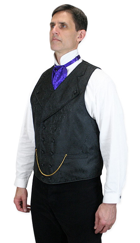 Victorian Mens Black Paisley Notch Collar Dress Vest | Dickens | Downton Abbey | Edwardian || Kendall Vest - Black