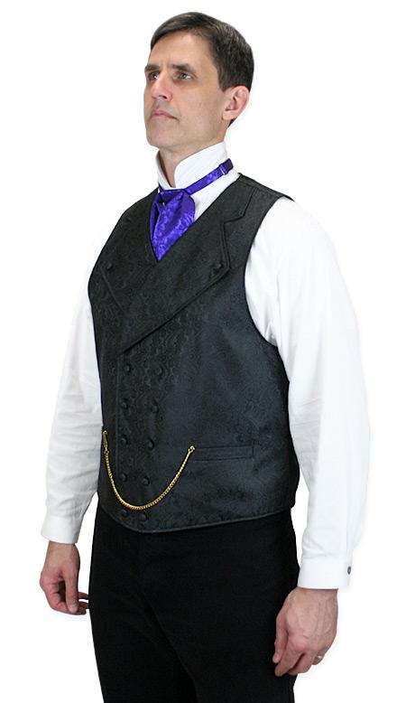 Victorian Mens Black Paisley Notch Collar Dress Vest | Dickens | Downton Abbey | Edwardian || Kendall Vest - Black