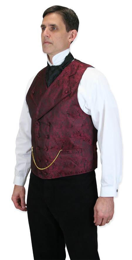 Steampunk Mens Burgundy Paisley Notch Collar Dress Vest | Gothic | Pirate | LARP | Cosplay | Retro | Vampire || Kendall Vest - Burgundy