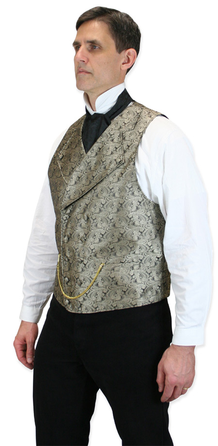 1800s Mens Gold Paisley Notch Collar Dress Vest | 19th Century | Historical | Period Clothing | Theatrical || Kendall Vest - Gold