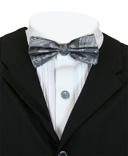 Victorian Mens Gray,Silver Paisley Bow Tie | Dickens | Downton Abbey | Edwardian || Lyndon Bow Tie - Charcoal