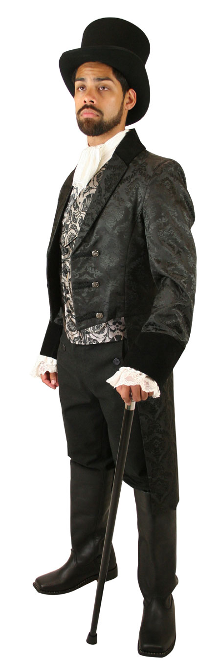 Steampunk Mens Black Cotton Solid Fall Front Trousers,Dress Pants   Gothic   Pirate   LARP   Cosplay   Retro   Vampire    Regency Fall Front Trousers - Black Brushed Cotton