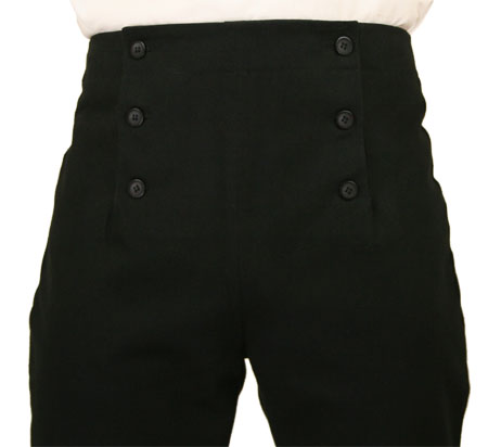 Regency Fall Front Trousers - Black Brushed Cotton