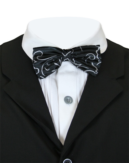 1800s Mens Black,Gray Stripe,Floral Bow Tie | 19th Century | Historical | Period Clothing | Theatrical || Gaston Bow Tie - Black