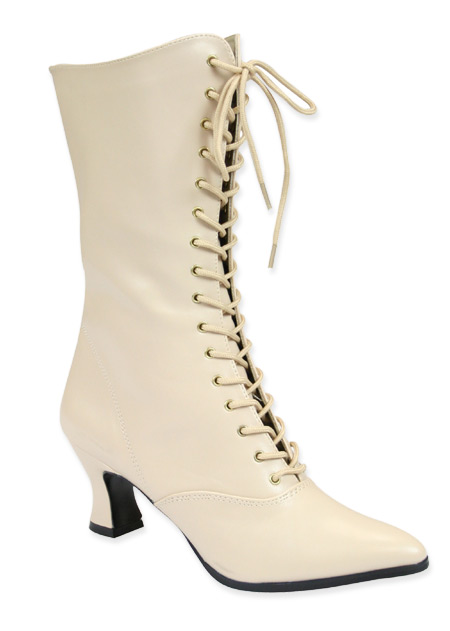Victorian Ladies Ivory Faux Leather Boots | Dickens | Downton Abbey | Edwardian || Victorian Boot - Ivory Faux Leather