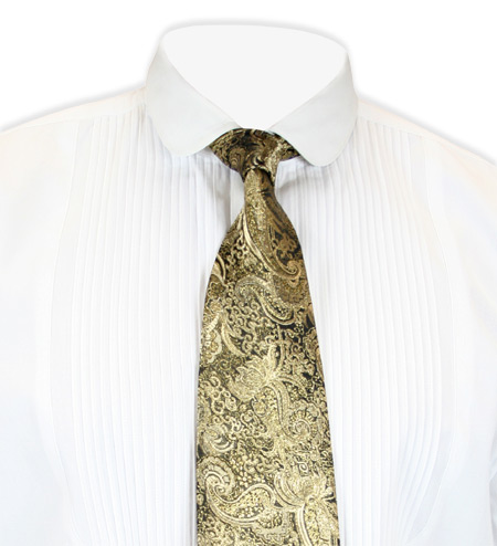 Vintage Mens Gold Paisley Four-In-Hand Tie | Romantic | Old Fashioned | Traditional | Classic || Showman Four-In-Hand Tie - Gold