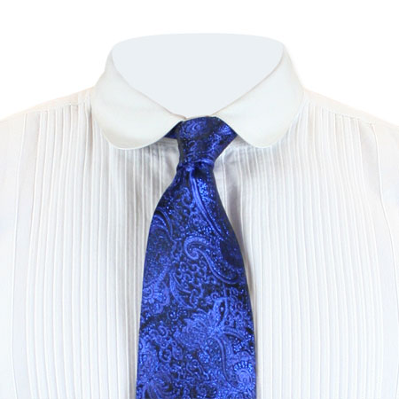 Wedding Mens Blue Paisley Four-In-Hand Tie | Formal | Bridal | Prom | Tuxedo || Showman Four-In-Hand Tie - Royal