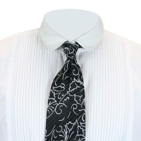 Wedding Mens Black,Gray Floral Four-In-Hand Tie | Formal | Bridal | Prom | Tuxedo || Gaston Four-In-Hand Tie - Black