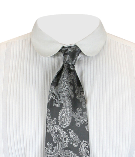 Victorian Mens Gray,Silver Paisley Four-In-Hand Tie | Dickens | Downton Abbey | Edwardian || Lyndon Four-In-Hand Tie - Charcoal