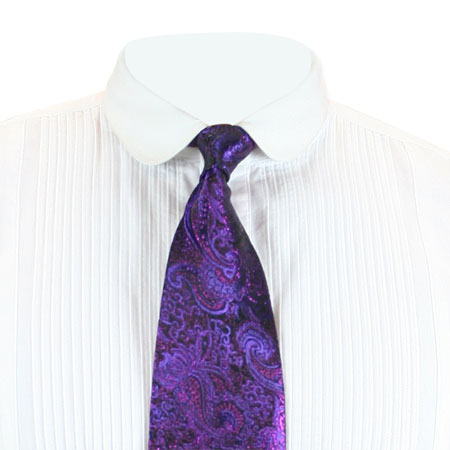 Steampunk Mens Purple Paisley Four-In-Hand Tie | Gothic | Pirate | LARP | Cosplay | Retro | Vampire || Showman Four-In-Hand Tie - Purple