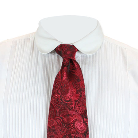 Steampunk Mens Red Paisley Four-In-Hand Tie | Gothic | Pirate | LARP | Cosplay | Retro | Vampire || Showman Four-In-Hand Tie - Red