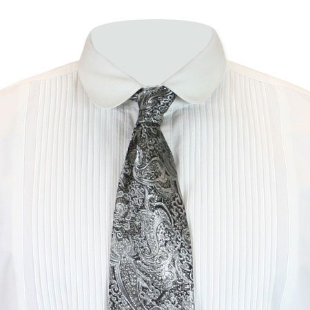 1800s Mens Silver Paisley Four-In-Hand Tie | 19th Century | Historical | Period Clothing | Theatrical || Showman Four-In-Hand Tie - Silver