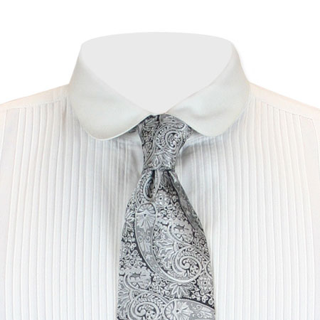 Victorian Mens Silver Paisley Four-In-Hand Tie | Dickens | Downton Abbey | Edwardian || Montgomery Four-In-Hand Tie - Silver