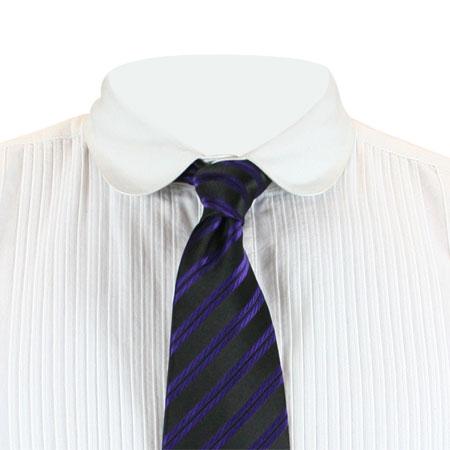 Victorian Mens Purple Stripe Four-In-Hand Tie | Dickens | Downton Abbey | Edwardian || Huxley Striped Four-In-Hand Tie - Purple
