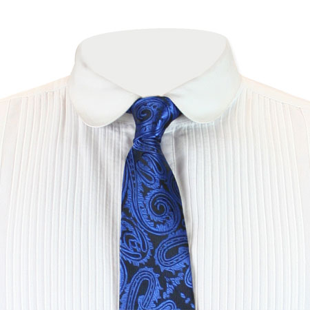 Victorian Mens Blue Paisley Four-In-Hand Tie | Dickens | Downton Abbey | Edwardian || Whipple Four-In-Hand Tie - Blue Paisley