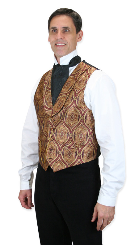 Steampunk Mens Red Print Shawl Collar Dress Vest | Gothic | Pirate | LARP | Cosplay | Retro | Vampire || Kingsley Vest - Vintage
