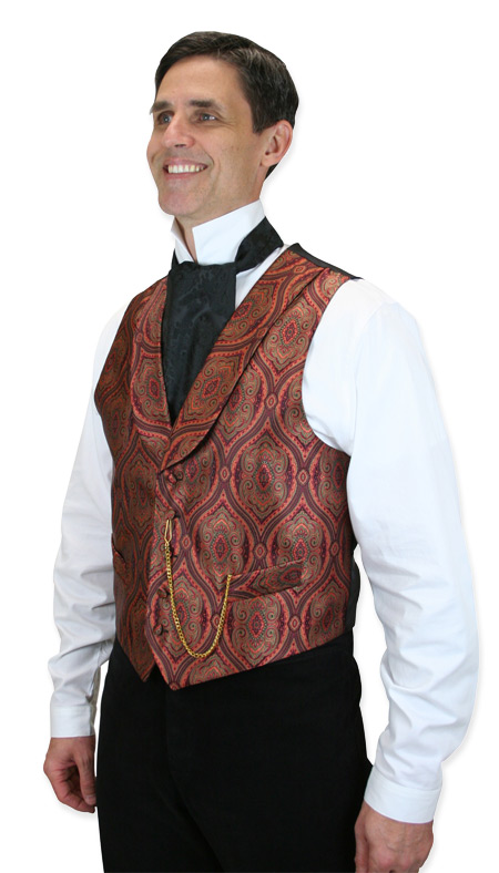1800s Mens Red Print Shawl Collar Dress Vest | 19th Century | Historical | Period Clothing | Theatrical || Kingsley Vest - Carnival