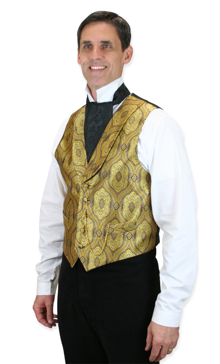 1800s Mens Gold Print Shawl Collar Dress Vest | 19th Century | Historical | Period Clothing | Theatrical || Kingsley Vest - Gold