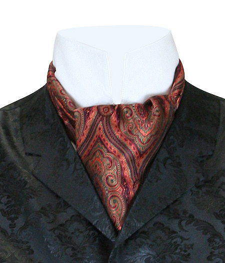Wedding Mens Multicolor,Red Print Ascot | Formal | Bridal | Prom | Tuxedo || Kingsley Ascot - Carnival