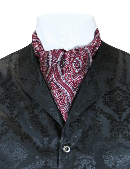 Victorian Mens Multicolor,Burgundy Print Ascot | Dickens | Downton Abbey | Edwardian || Kingsley Ascot - Claret