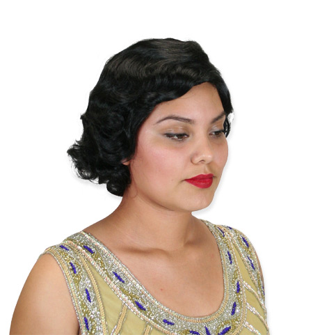 1800s Ladies Black Wig | 19th Century | Historical | Period Clothing | Theatrical || Flapper Wig - Black