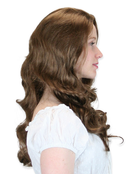 Victorian Ladies Brown Wig | Dickens | Downton Abbey | Edwardian || Long Curled Wig - Light Golden Brown