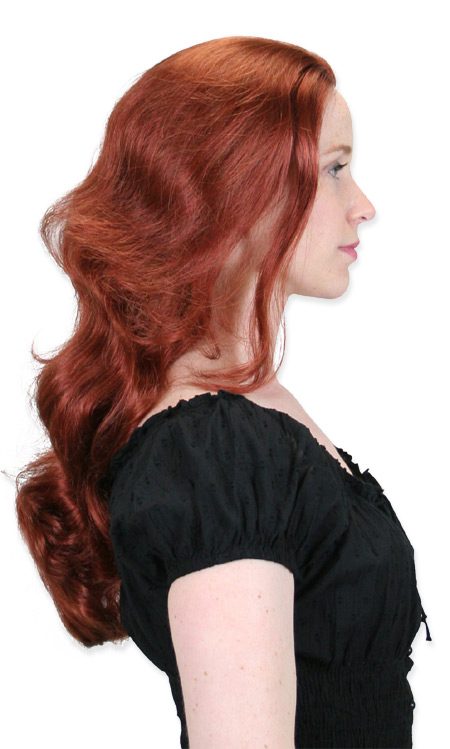 Victorian Ladies Red Wig | Dickens | Downton Abbey | Edwardian || Long Curled Wig - Bright Red Auburn