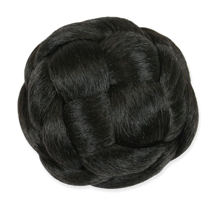 Vintage Ladies Black Wig | Romantic | Old Fashioned | Traditional | Classic || Braided Bun, 3.5 in. - Off Black