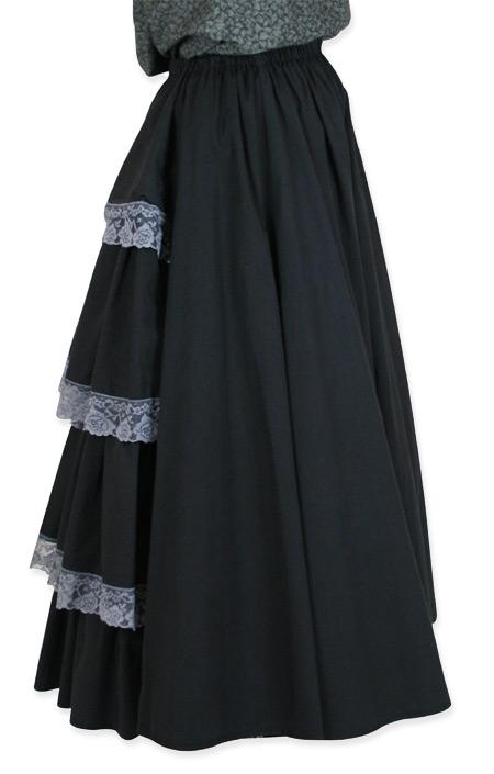 Wedding Ladies Black Cotton Solid Dress Skirt | Formal | Bridal | Prom | Tuxedo || Lace Bustle Skirt - Black