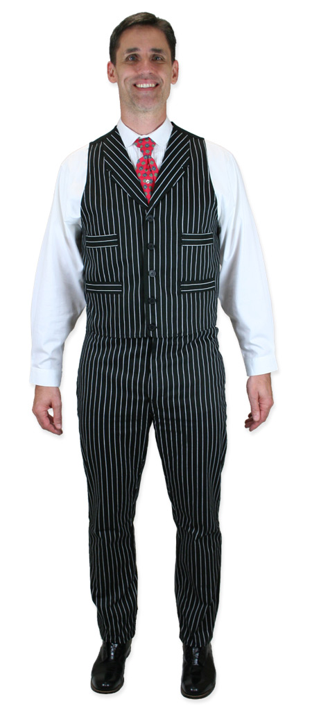 Wedding Mens Black,White Cotton Stripe Notch Collar Dress Vest | Formal | Bridal | Prom | Tuxedo || Henderson Vest