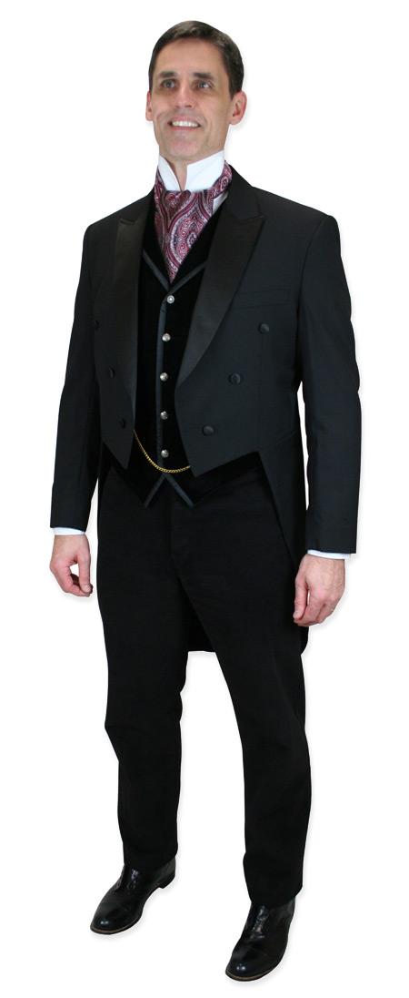 Steampunk Mens Black Velvet Solid Notch Collar Dress Vest   Gothic   Pirate   LARP   Cosplay   Retro   Vampire    Bonaventure Vest - Black Velvet