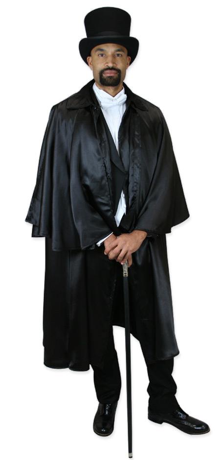 Wedding Mens Black Solid Point Collar Cloak | Formal | Bridal | Prom | Tuxedo || Inverness Cape - Black Satin / Black Lining