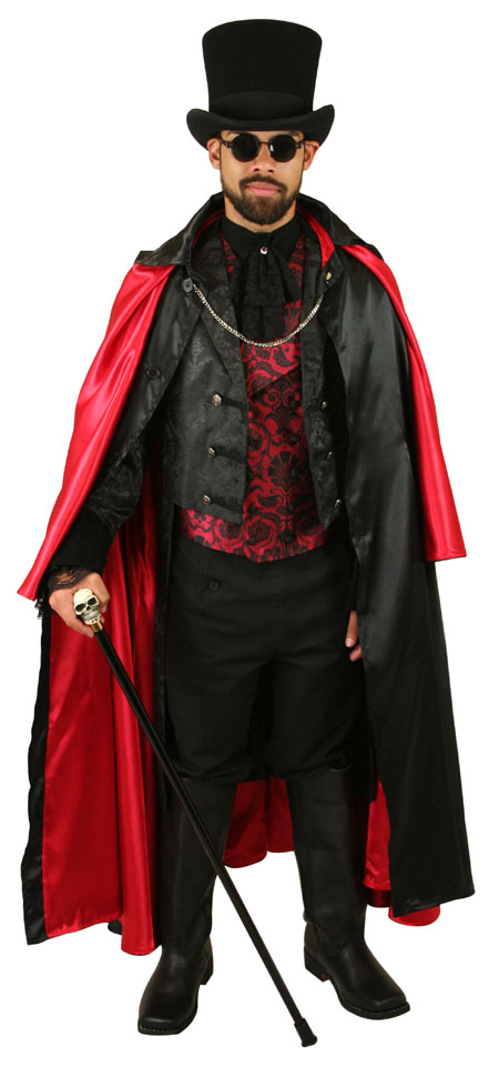 Victorian Mens Black Solid Point Collar Cloak | Dickens | Downton Abbey | Edwardian || Inverness Cape - Black Satin / Red Lining