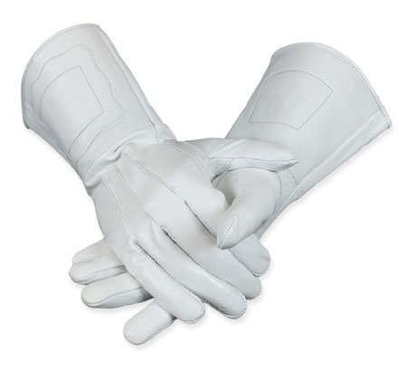 1800s Mens White Leather Gloves | 19th Century | Historical | Period Clothing | Theatrical || Gauntlets - White Leather