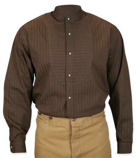 Wedding Mens Brown Cotton Solid Band Collar Dress Shirt   Formal   Bridal   Prom   Tuxedo    O.C. Smith Shirt - Chocolate
