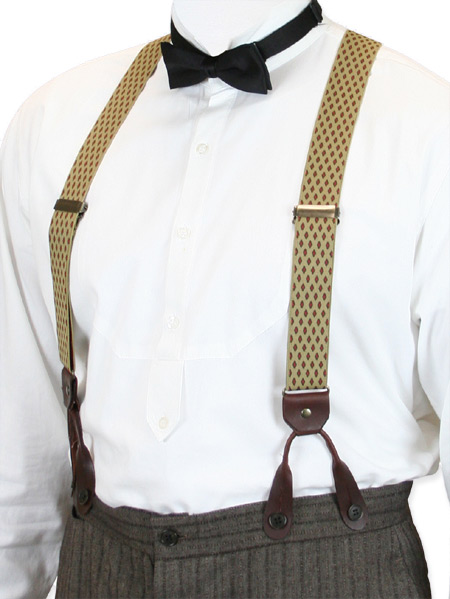 1800s Mens Brown,Tan Elastic Y-Back Braces Suspenders | 19th Century | Historical | Period Clothing | Theatrical || Diamond Elastic Y-back Suspenders - Tan (Short)