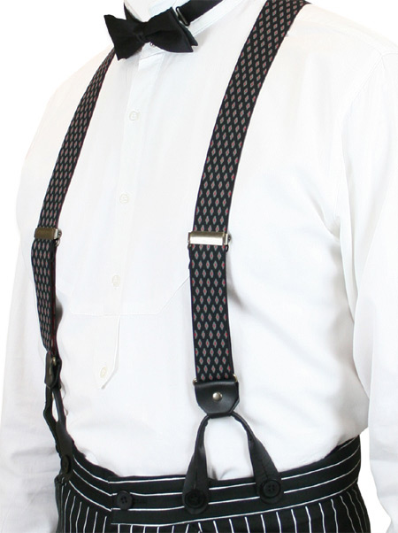 1800s Mens Black Elastic Y-Back Braces Suspenders | 19th Century | Historical | Period Clothing | Theatrical || Diamond Elastic Y-back Suspenders - Black (Short)
