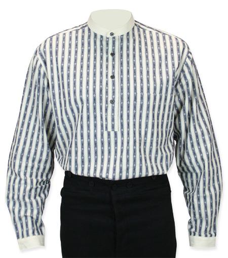 Victorian Mens Blue Cotton Stripe Band Collar Work Shirt | Dickens | Downton Abbey | Edwardian || Dealer Diamond Shirt - Blue