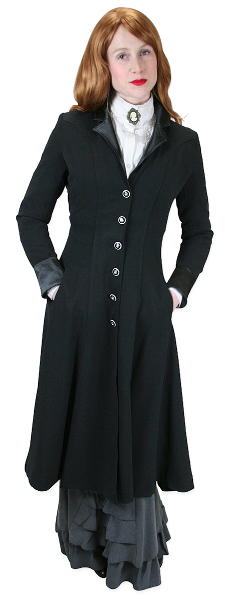 Vintage Ladies Black Notch Collar Frock Coat | Romantic | Old Fashioned | Traditional | Classic || Veronica Frock Coat - Black