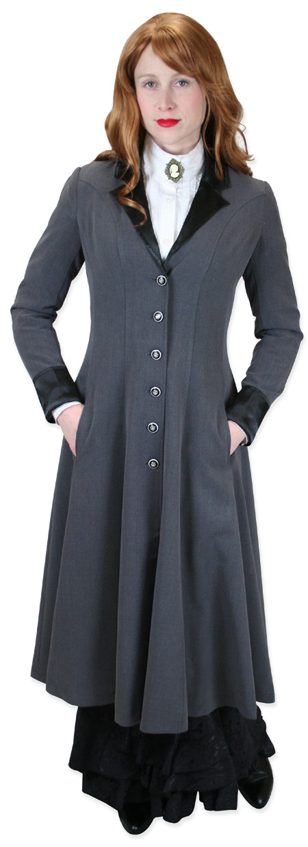 Vintage Ladies Gray Notch Collar Frock Coat | Romantic | Old Fashioned | Traditional | Classic || Veronica Frock Coat - Gray