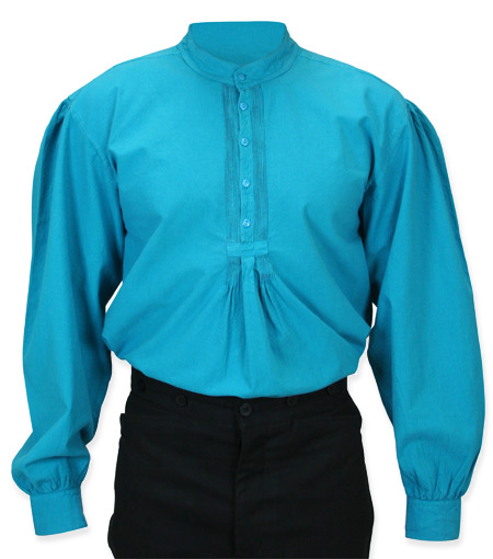 Wedding Mens Blue Cotton Solid Band Collar Work Shirt | Formal | Bridal | Prom | Tuxedo || Fundamental Work Shirt - Aqua Blue