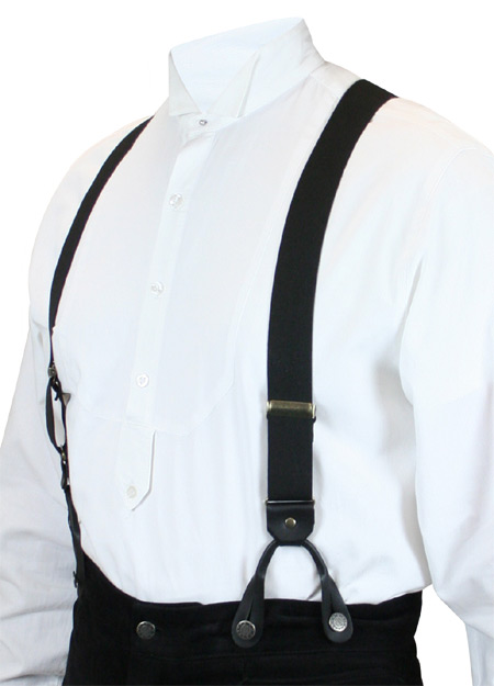 Victorian Mens Black Elastic Y-Back Braces Suspenders | Dickens | Downton Abbey | Edwardian || Black Elastic Y-back Suspenders (Short)