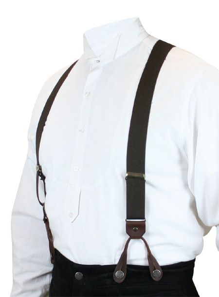 Victorian Mens Brown Elastic Y-Back Braces Suspenders | Dickens | Downton Abbey | Edwardian || Brown Elastic Y-back Suspenders (Short)