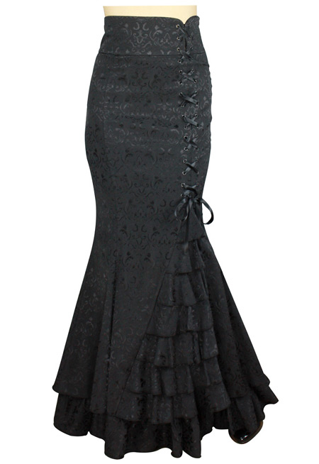Steampunk Ladies Black Floral Dress Skirt | Gothic | Pirate | LARP | Cosplay | Retro | Vampire || Vivien Fishtail Skirt - Black Jacquard