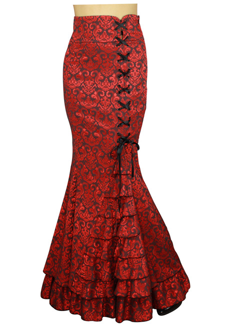 Steampunk Ladies Red Floral Dress Skirt | Gothic | Pirate | LARP | Cosplay | Retro | Vampire || Vivien Fishtail Skirt - Red Jacquard