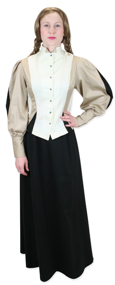 Steampunk Ladies Brown,Tan Cotton Solid Wing Tip Collar Blouse | Gothic | Pirate | LARP | Cosplay | Retro | Vampire || Bella Blouse - Khaki/Cream